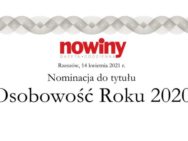 Grafika zawiera napis Nominacja do tytułu Osobowość Roku 2020