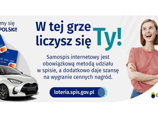 """Grafika promująca loterię spisową z hasłem """"W tej grze liczysz się Ty!"""""""
