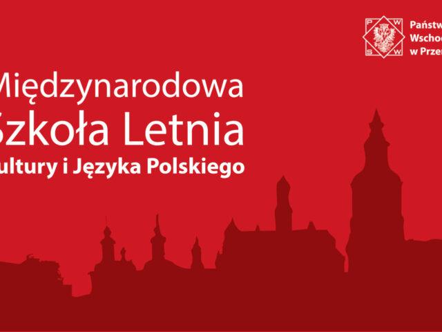 Grafika z napisem X Międzynarodowa Szkoła Letnia Kultury i Języka Polskiego